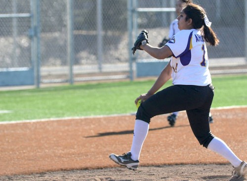 Senior Tamanna Ahluwalia pitches to Mission San Jose High School on March 25. Ahluwalia, player of the game, threw a shutout in the 10-0 game. Photo by Pranav Iyer