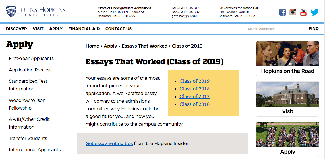 johns hopkins essays that have worked Johns hopkins essays that worked arranged type of leader you understanding johns hopkins college essays actually are to should appear in the world.