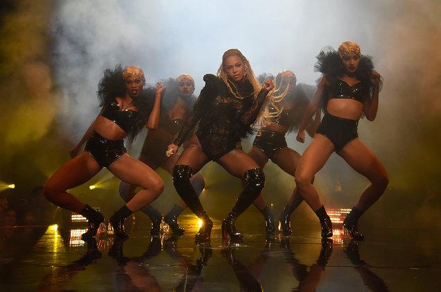 Beyoncé performing her 15 minute mini concert for her album Lemonade at the 2016 VMAs. Kevin Mazur/WireImage