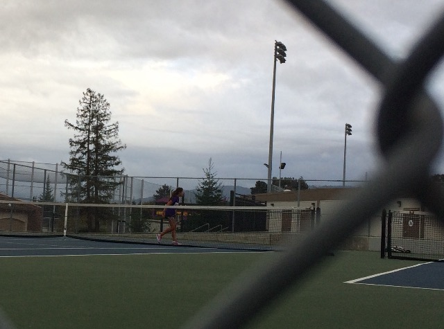 Sophomore Leslie Ligier was the last one to finish her match. During the intense last set, a small crowd had formed in front of her and her opponent's court. Ligier ended up winning the last set 6-4, bringing MVHS' final score against GHS to 5-2.