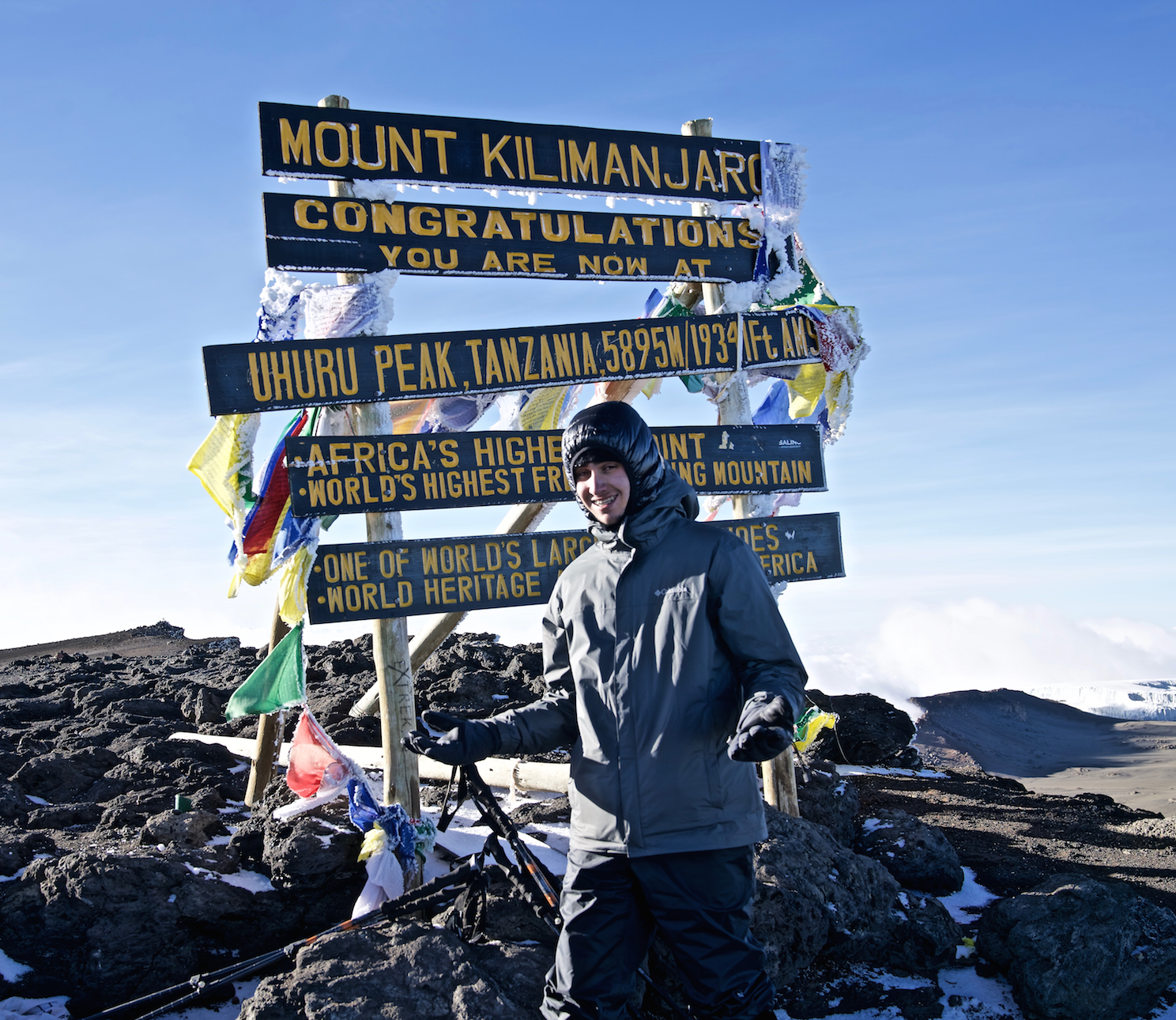Freshman Daanyal Raja poses for a picture at the top of Mount Kilimanjaro. He made this climb with his family last December. Photo used with permission of Saeed Raja.