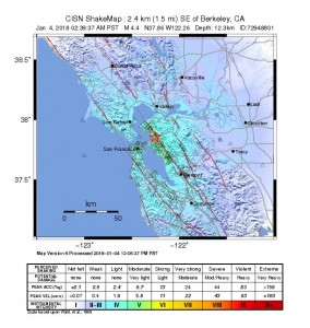 The USGS Shake Map depicts the intensity of the 4.4 magnitude Berkeley earthquake.