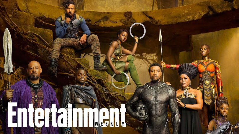 "The main cast of ""Black Panther"" poses for a photo shoot. Photo used without permission by Entertainment Weekly."