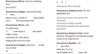 The chat in the AP Chemistry study document was riddled with obscene language and racial slurs on Jan. 15. Used with permission of Elika Hashemi.