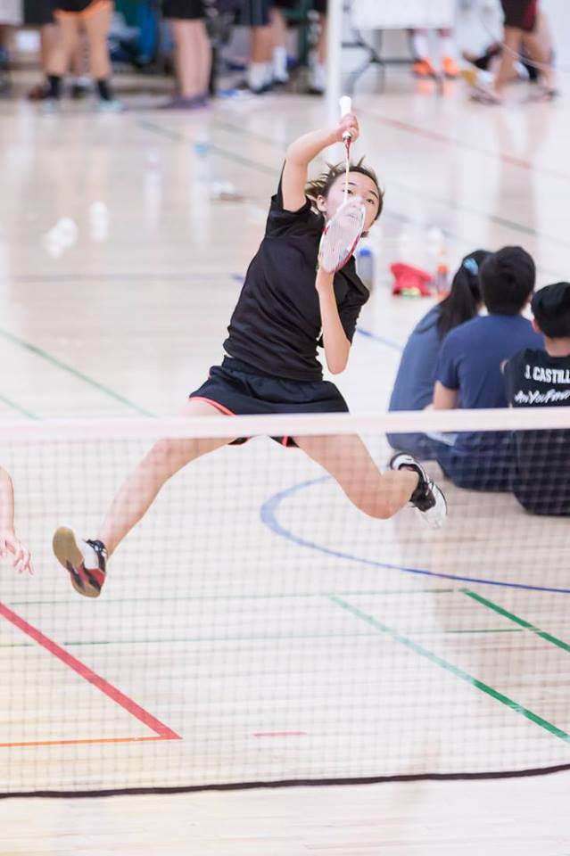 Junior Karina Wang plays in the San Jose State Uni Smash-Offs in the summer of 2017. Wang is now the vice president of MVHS Badminton club and is working to improve the skills of other members on the team.