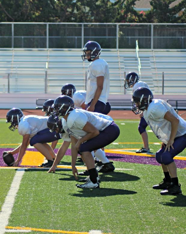 Co-captain senior Ryan Manley surveys the defense before taking a snap. Manley will be the starting quarterback for the upcoming season. Photo by Mihir Joshi.