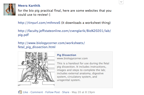Sophomore Meera Karthik provides helpful links to review before a biology assessment. Students used class Facebook groups to share resources with and ask questions to their peers. Screenshot by Alina Abidi.