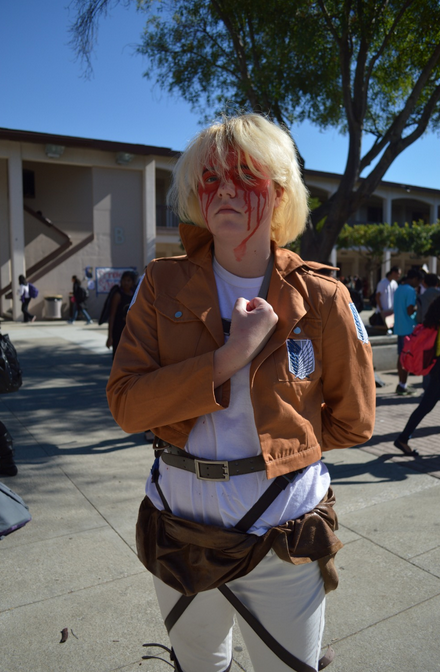 Sophomore Lara Immink poses as Armin Arlert from the popular anime and manga 'Attack on Titan.' Much of her costume is handmade. Photo by Kathleen Yuan.