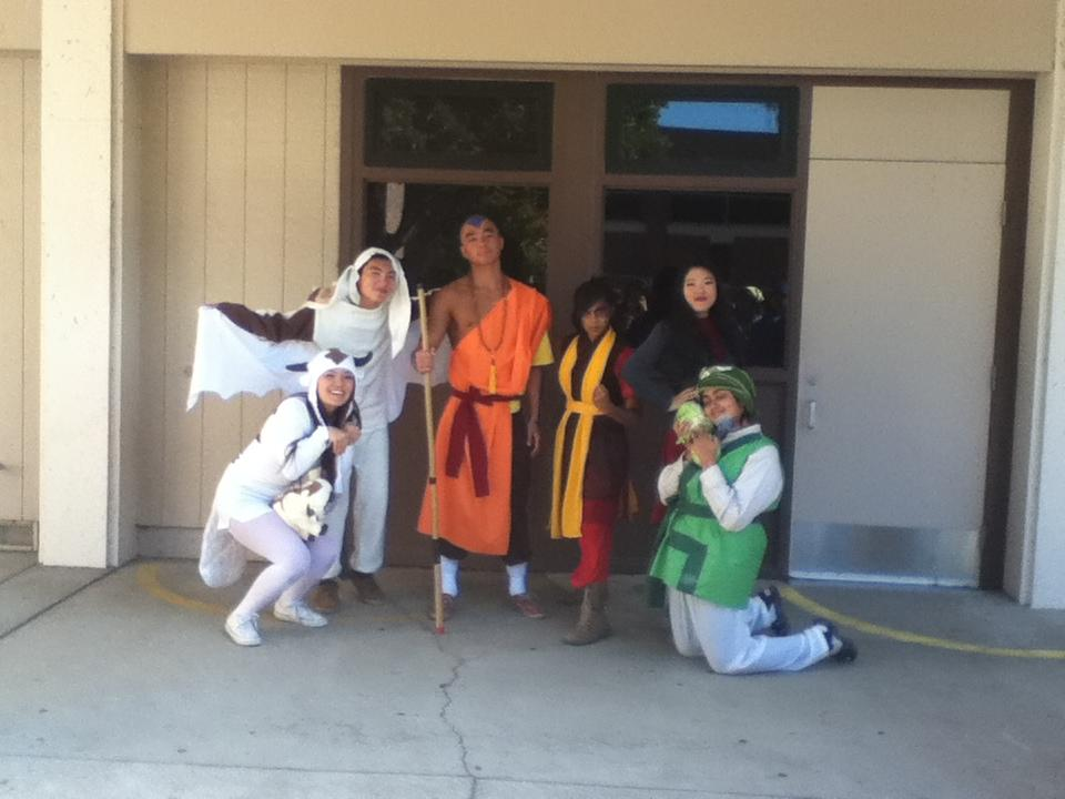 Seniors Alana Lee, Donovan Phua, Colin Hong, Anika Ullah, Stephanie Chang and Anjali Bhat pose as characters from the animated series 'Avatar: The Last Airbender.' From left to right: Lee as Appa, Phua as Momo, Hong as Aang, Ullah as Zuko, Chang as Asami and Bhat as the Cabbage Man. Photo by Rhonda Mak. One of the winners, senior Anjali Bhat, is a reporter on staff.