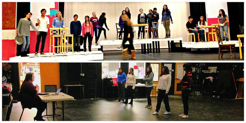 The ensemble cast (above) rehearses a key scene in the beginning of the play. This is a complex arrangement with a large number of castmates involved, so each person must be aware of his or her surroundings. Photo by Sophia Tao. The members of the choir (below) laugh good-naturedly as vocal coach Sheila Townsend offers positive criticism about their performance. It took a few attempts, but they eventually performed the piece to her satisfaction. Photo by Harini Shyamsundar.
