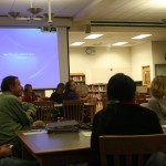 The fourth PTSA meeting was held in the library on Nov. 26 to discuss various updates on campus activity amongst parents and admin. Senior Shailee Samar was a guest to the meeting to talk about her Walk One Week program. Photo by Catherine Lockwood.