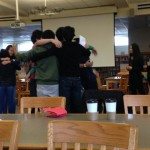 "Members hug after playing ""cross the line."" Photo by Elia Chen."