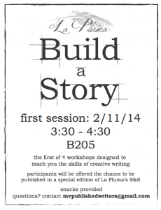 """The flyer for the upcoming  """"Build a Story"""" workshop. Attendees will get a chance to publish their work in La Pluma's upcoming S&S issue."""