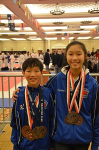 Kaneda and her brother Aaron show off the awards they won at the 2012 US Open.