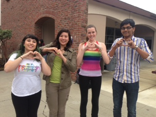 The club officers wear  their club shirts or rainbow shirts to celebrate National GSA Day. This Friday, the club plans to discuss ways to improve the club. Photo by Joyce Varma.