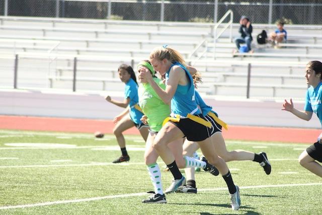 Sophomore Monica Polgar runs the ball in a controversial pick-six.