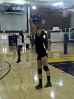 Senior Hannah Pollek practices setting the ball during tryouts.