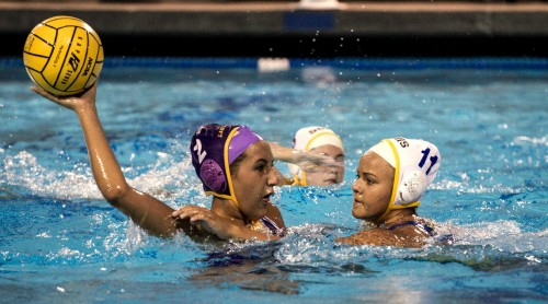 Senior Samantha Quevedo looks to make a pass with a Santa Clara player defending her on September 16. Quevedo made a shot from the center line but her and the rest of the Matadors efforts proved not to be enough as MVHS lost their season opener 14-10. Photo by Colin Ni.