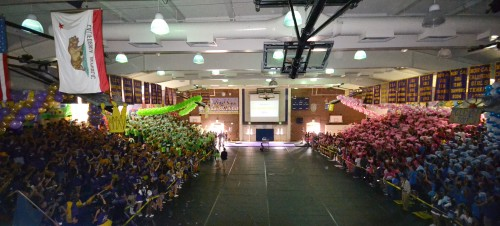The freshmen, sophomores, juniors and seniors stand together in the gym during the 2014 Homecoming Rally. Though the rally began organized, chaos ensued near the end due to the confusion about the final results. Photo by Aditya Pimplaskar