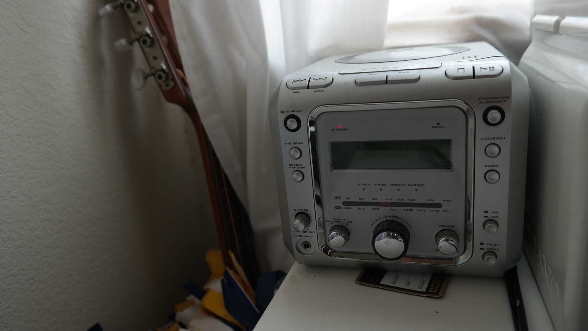 Leung's radio sits adjacent to her Nespresso machine. When her radio isn't on, Leung listens to music on Spotify. Photo by Rhonda Mak.