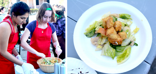Junior Adithi Sajapuram and Junior Allana Evans toss a chicken Caesar salad with minimal oil and a secret family sauce. To make the dish healthier, Tomatoes Tomahtoes Potatoes Potahtoes used lemon from a backyard garden and homemade croutons. Photos by Justin Kim.
