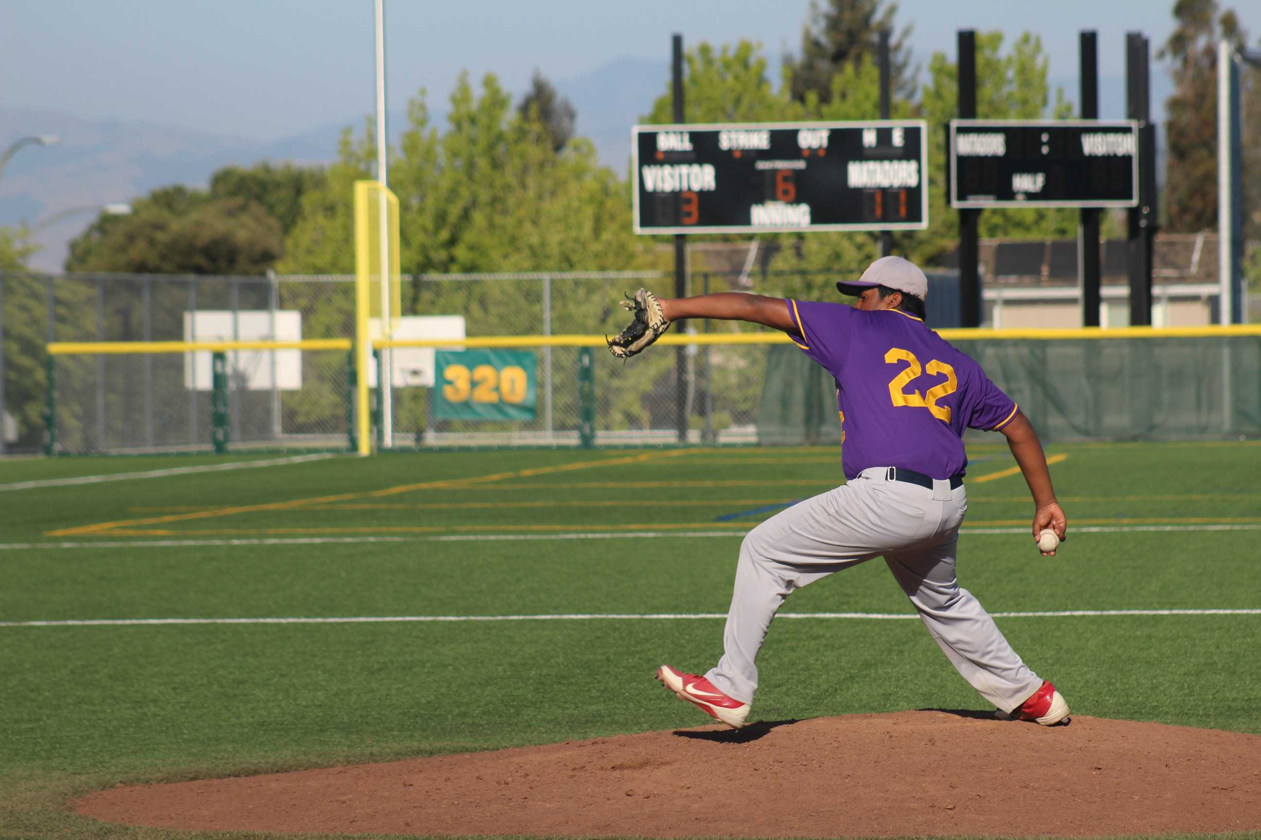 Junior Surya Kumaraguru came into for relief for senior Sheldon McClelland at the mound. After the first inning, the pitching for the Matadors was nearly unstoppable. Photo by Pranav Iyer.