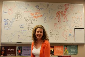 French 2 teacher Melanie Lhomme sits in her classroom in front of a wall of drawings created by students. Photo by ZaZu Lippert.