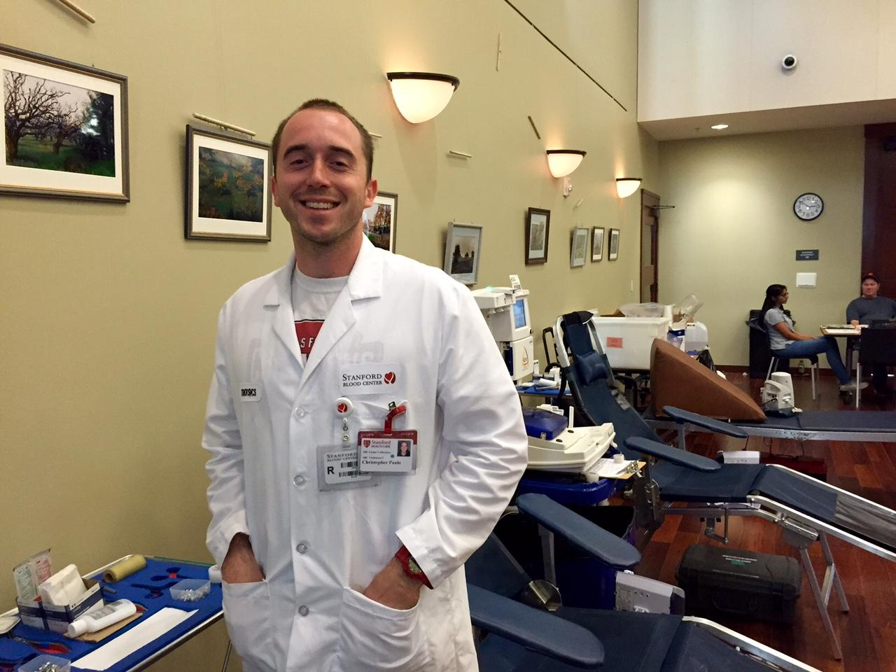 Christopher Paulo, medical assistance in Stanford Blood Center.
