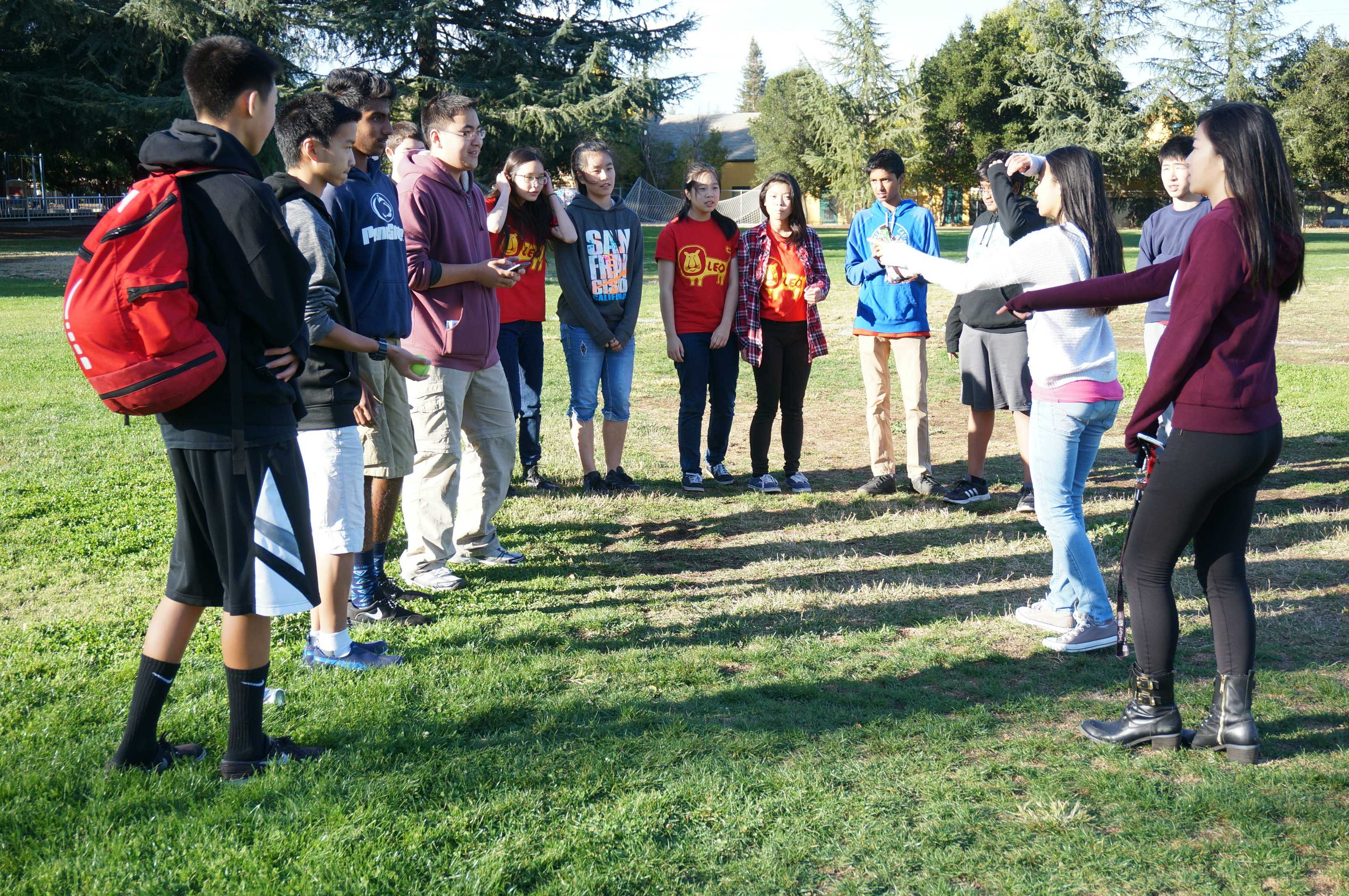 Members gather to play a series of fun teamwork building games. Leo Club's Annual Leo Induction was held on Nov. 15.