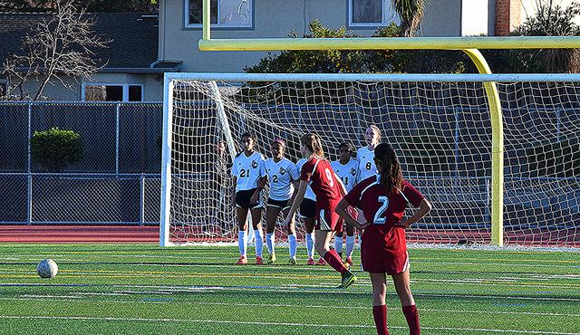 A penalty kick due to a hand ball resulted in the first of four goals for CHS. This was the only goal scored by either side in the first half. Photo by Akshara Majjiga