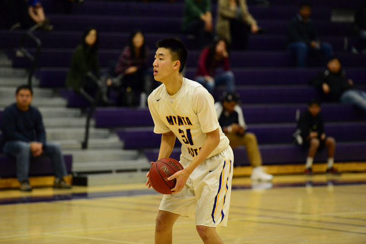 Senior Andrew Ding prepares to take a shot against Westmoor Rams. Early on, the Rams prevented the Matadors' bigs, including Ding, from making an impact on the game. Photo by Pranav Iyer