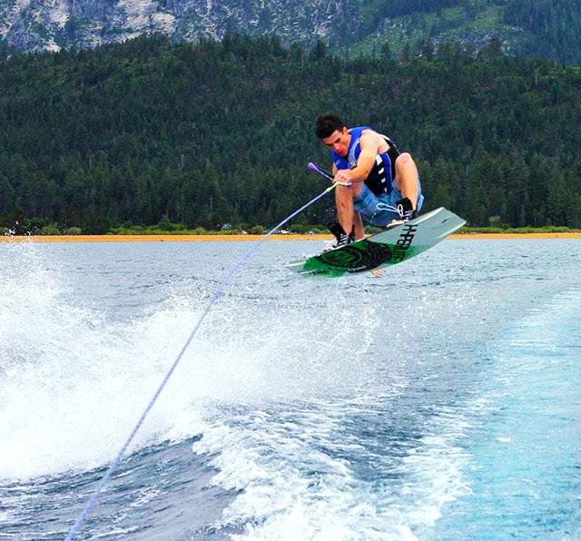 Ryan Bishop goes wakeboarding on a yearly trip to Tahoe. The Bishops go on family trips, specifically to try their hand at new sports. Photo used with permission of Kevin Bishop.