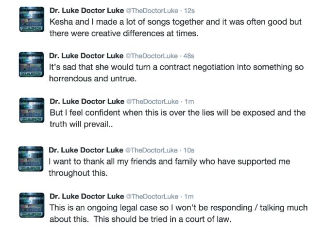 Dr. Luke breaks his silence on Kesha's allegations. He defends himself over a series of tweets stating Kesha's rape allegations are false. Source: Twitter