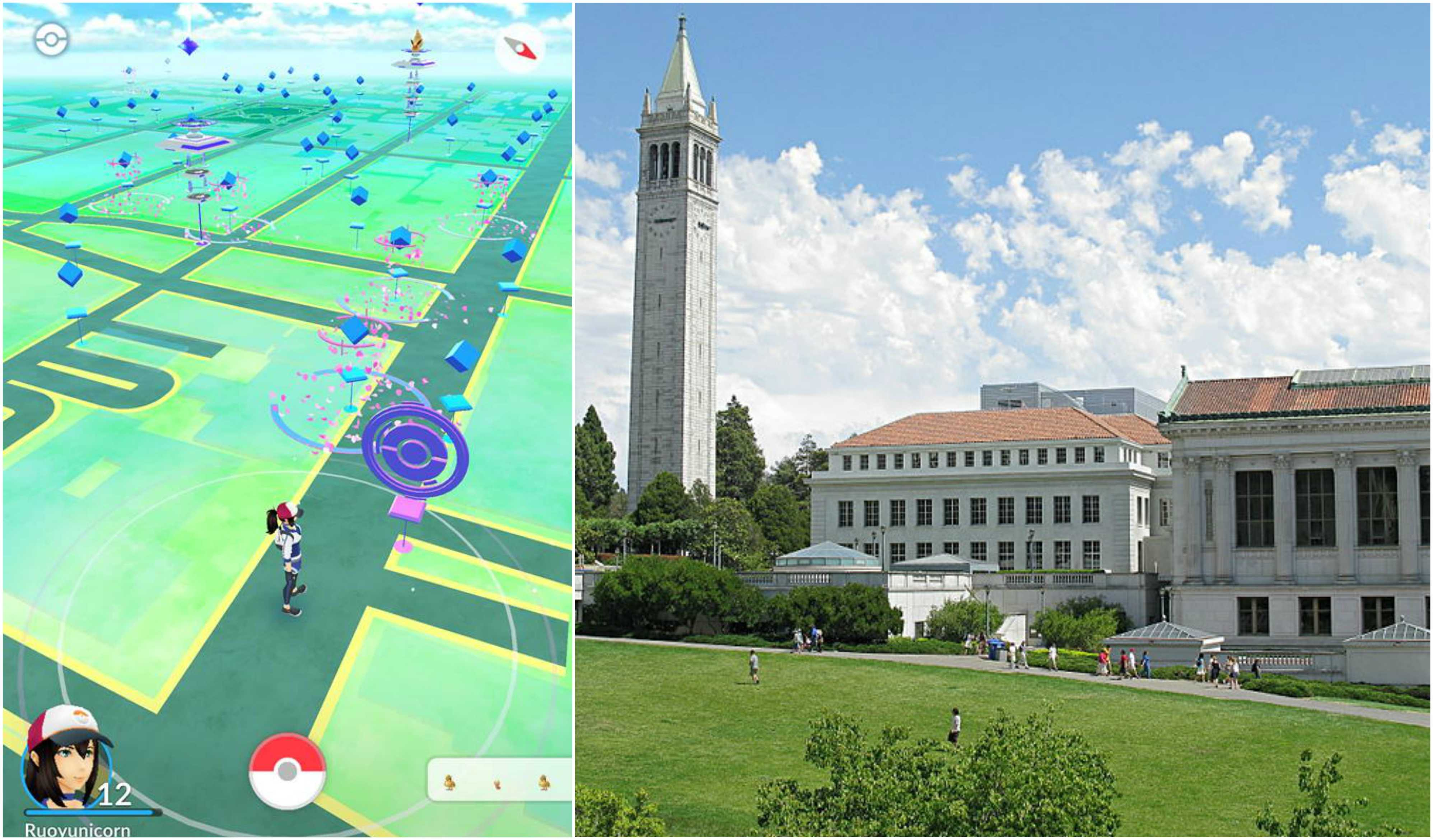 """Senior Ruoyun Zheng played Pokemon Go in between breaks at her internship at Berkeley. Berkeley's Sather Tower is a poke stop many players frequent. First photo used with permission by Ruoyun Zheng. """"Creative commons UC Berkeley Tower"""" John Loo"""