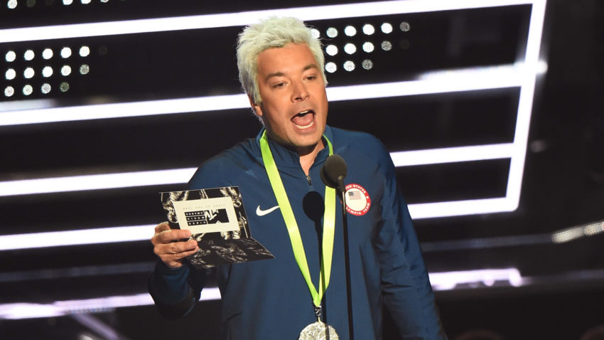 Jimmy Fallon dressed up as Ryan Lochte, presenting award for Video of the Year at the 2016 VMAs. Michael Loccisano/Getty