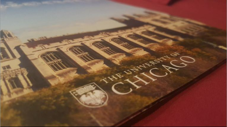 An advertisement Brochure for the University of Chicago. Photo taken by Kingsley Wang