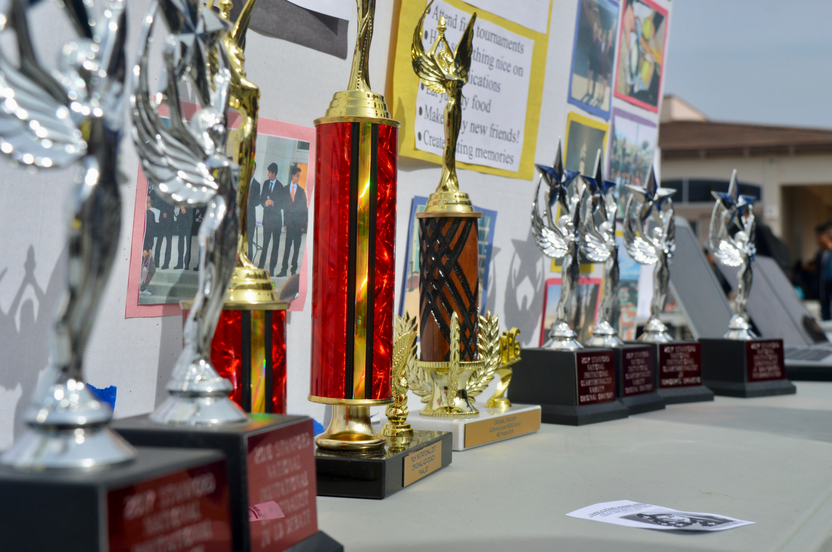 MV Speech and Debate proudly displays just some of their numerous trophies. The glimmering awards of the acclaimed club attracted the attention of students passing by without fail.
