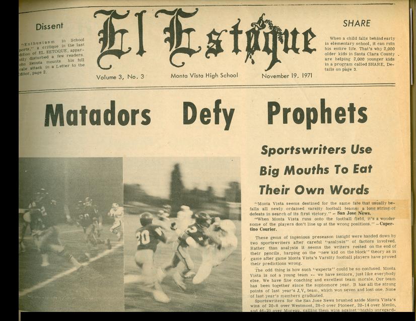 El Estoque newsletter in 1970. El Estoque is spanish for the sword the matador sticks into the bull.