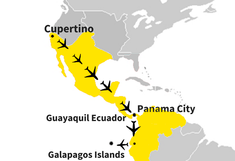 A map of how Gupta arrived at the Galapagos Island. Click on the map to see a more detailed map Gupta built to chronicle her trip. Graphic by Swara Tewari and Jacob Wee.