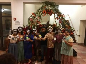 """Spanish teacher Maria Autran stands with the rest of her cast, the second person to the right, on the opening night of her play, """"Le Muerte Baila."""" The opening night was on Oct. 12 and is currently playing until Oct. 22."""