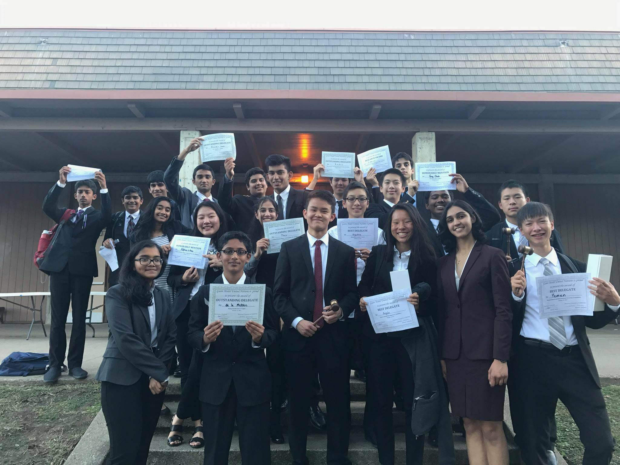The MVHS MUN delegation poses with their awards after the GHS conference. The conference was the first of the 2017-2018 school year. Photo used with permission from Amit Chandramouly.