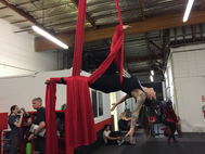 Kaufman exhibits a series of difficult steps during her aerial dancing class. Photo used with the permission of Kaufman.