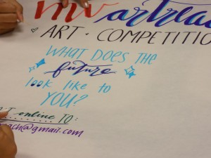 """ArtReach club members were encouraged to make posters for promotion. The them is, """"What does the future look like to you?"""" Student from all grades can participate.Photo by Sarah Young."""