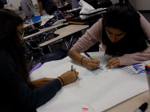 ArtReach club members made posters for promoting the competition. Partnering clubs Art club and DesignIt are also helping promote the competition in their own meetings. Photo by Sarah Young.