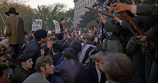 College students protest against the Vietnam War. Prinz was one of these individuals 50 years ago.