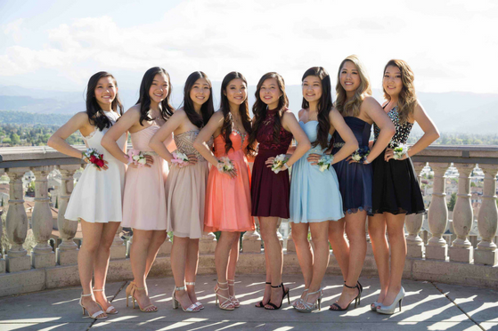 Law (center left) and her friends at junior prom last year. Photo used with permission of Ian Lee.