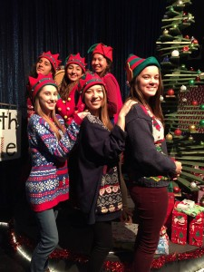 Seniors at MVHS Drama's Santa's Workshop, put on for the kids of MVHS staff every December.